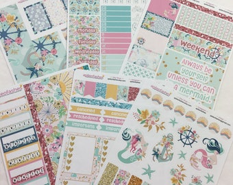 Summer Mermaid, Full Kit 6 Sheet Sticker Set, Bible Stickers, Planner Stickers,