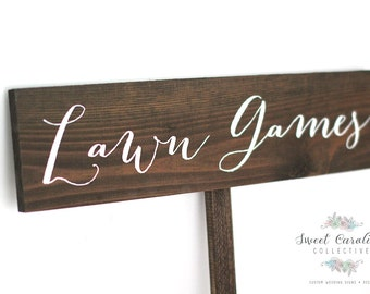 Lawn Games Wedding Sign - Wooden Wedding Sign - Reception Signs - Wedding Decor - Rustic Wedding Signs - Yard Games -  WS-38