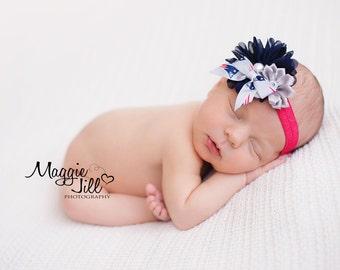 New England Patriots Headband, Patriots Baby Heaband, New England Girls Headband, Great Photo Prop