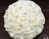 Ivory wedding bouquet, silk flower bridal bouquet, ivory roses and pearls and rhinestones bouquet, artificial bridal bouquet, foam bouquet
