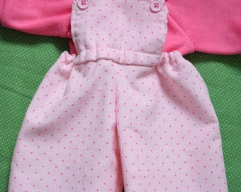 """16"""" Cabbage Patch Doll Clothe pink dot corduroy Overalls t shirt & Hair Bows,overalls,pink,overalls, pants"""