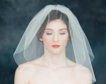 Ivory Double Tier Bubble Veil, Blusher Veil, Tulle Wedding Veil, Classic Bridal Veil, Pouf Veil, White Wedding Veil, Off White Veil, JONQUIL