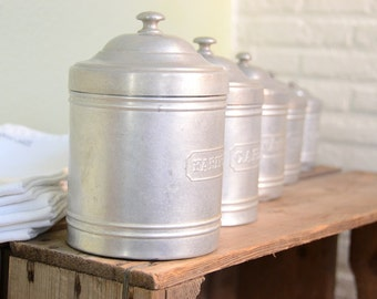 French kitchen canisters set of 5 French provincial aluminum kitchen storage wedding gift  housewarming gift