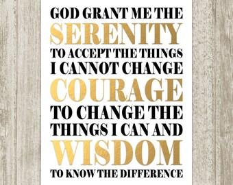 Gold Serenity Prayer Print, Serenity Prayer Wall Art, Serenity Prayer Poster, Black Gold Wall Decor, Serenity Prayer Sign, Instant Download