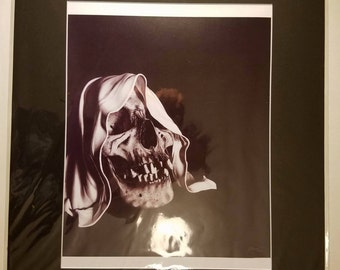 16x20 Inch Matted Print of Original Charcoal Drawing of Reaper Skull