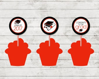 Cupcake Toppers - Graduation - Class of 2017 - Graduation Party - Red Black and White - INSTANT DOWNLOAD - Printable