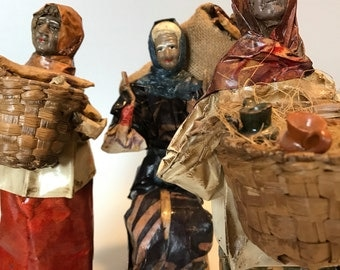 Vintage Paper Mache Folk Art  Dolls From Mexico