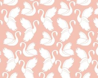 Baby Bedding Crib Bedding - Peach Pink Swan - Baby Blanket, Crib Sheet, Crib Skirt, Changing Pad Cover, Boppy Cover
