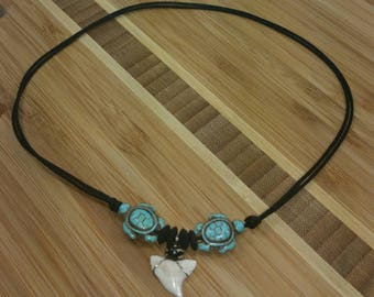 Shark Tooth Necklace - Turquoise Turtle Necklace