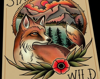 Stay Wild Wolf Tattoo Flash Art Print