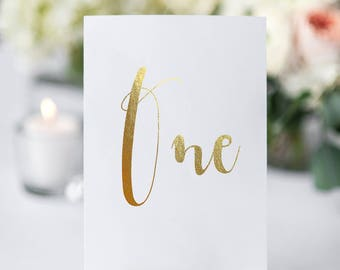 gold foil table number cards PER CARD spiros font