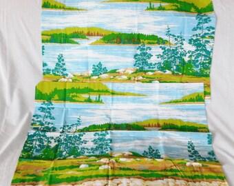 2 vintage Burlington Pillow Cases king size 1970's colors Lake Nature Scene New