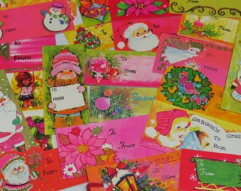 Vintage Christmas Gift tags & Seals  x27 ~ Groovy PINKS GOLDS GREENS