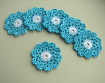 Flower appliques, Flower motif, Crochet flower, Garland motif, Sew on applique, Blue flower, Light blue