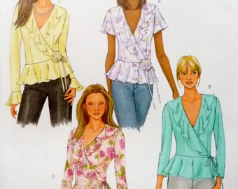 Blouse Top, Side Tie, Lower Founce Ruffle Collar, Flower Accent Butterick 4455 Sewing Pattern Miss Size 8 10 12 14 UNCUT