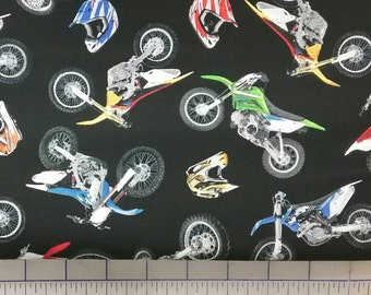"100% cotton Quilting fabric  1/2 yard dirt bike helmet motocross   black background .   Bikes about 3.25""  also in cream available"