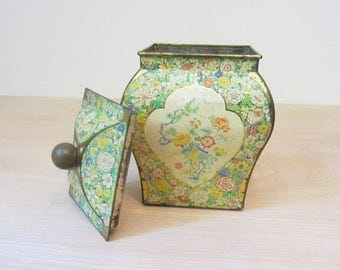 Vintage Dutch Floral Biscuit Tin, Square Shape with Green, Yellow and Pink Flowers & Butterflies Mid Century Tin.
