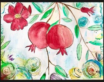 SALE Pomegranates art Pomegranate painting Original watercolour Fruit art Fruit painting Kitchen decor Home decor Small painting Wall art