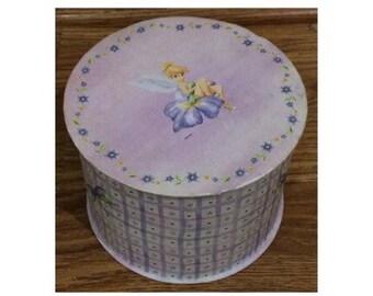 Vintage Walt Disney Peter Pan Tinkerbell Keepsake Jewelry Round Box