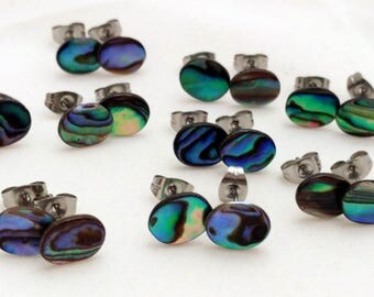 Abalone Shell Stud Earrings on Surgical Steel Posts