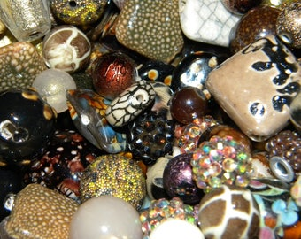 NEW Jesse James  beads MIXED Destashed BROWNS 100/ component , Loose assorted random Picked beads