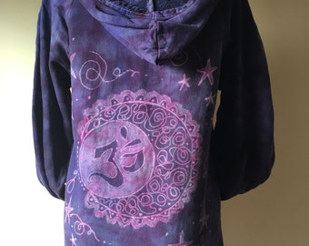 Hoodie, Organic Cotton Yoga Wear Hand dyed bleach painted, Om Moon- size Small