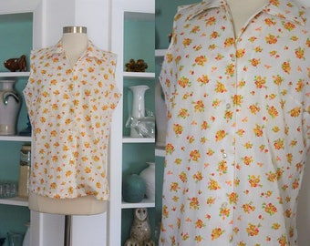 1960s Yellow Floral Top / Vintage 60s 70s JCPenney White Yellow Pink Red Ditsy Floral Summer Sleeveless Shirt/ Cotton Blouse/ Rockabilly - M