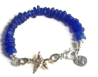 Genuine Sea Glass Bracelet, Cobatl Blue, Starfish, Seaglass Jewelry, Artisan, Vintage, Unique, Authentic, Boho, Hand Drilled