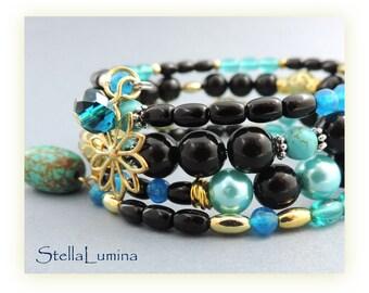 Teal, black, gold memory wire adjustable artisan beaded cuff bracelet adjustable