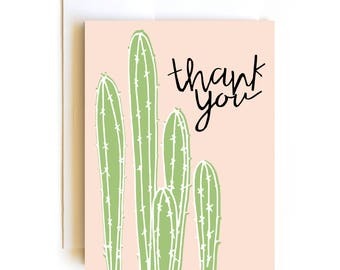 Cactus Thank You Card - Hand drawn hand lettered - Confetti Card
