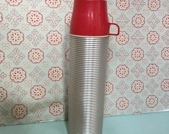 Antique Vintage Metal Thermos with Red Lid Cup