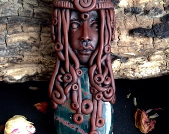 Ancestor Veneration Jewelry - Hand Sculpted Clay Face Pendant - Spiritual Necklace - Pagan Jewelry - New Age Jewelry - Bloodstone Necklace