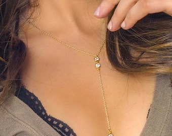 Gold Y Necklace, Gold Lariat Necklace, Lariat Necklace Gold, 14k Gold Necklace, Dainty Necklace, Gold Necklace, Holiday Gift, Layered N322