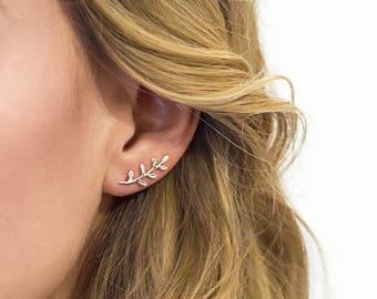 Ear Climber Silver Leaf Earrings, Ear Jackets Silver Leaf Earring, Silver Leaf Earrings, Minimal Earring, Leaf simple E246S