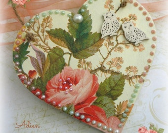 Flowers & Owls Heart Decoration, Gift Idea, Peaches and Greens