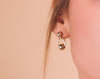 Ginza Earrings in gold - single or pair mix and match - 18k goldfilled stud hoop earrings