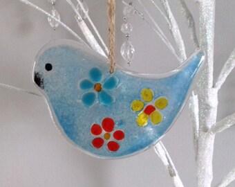 Fused Glass Bird Hanging Suncatcher Gift Flowers