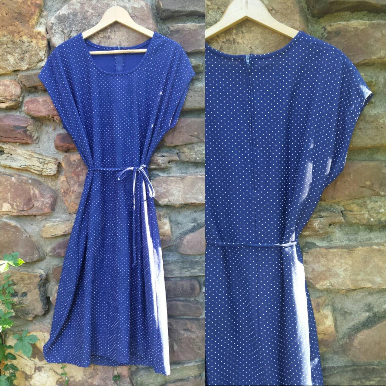 vintage blue white polka dot dress belt classic midi
