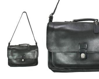 Black Leather Coach Briefcase // Vintage Coach Briefcase // H262