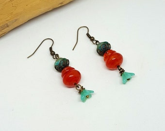 Red and Blue Hippie Flower Earrings - Red Earrings - Blue Earrings - Hippie Earrings - Flower Earrings