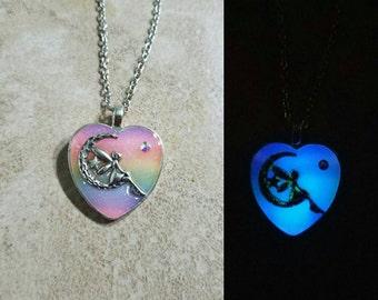 Rainbow Fairy necklace- GLOWS in the dark!