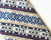 Vintage Yale-Genton London Necktie, Vintage abtract floral necktie, vintage geometric print tie, blue stripe tie, Yale-Genton london shop