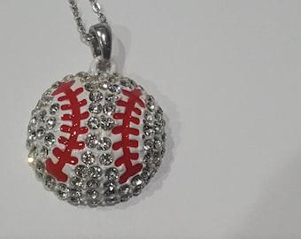 New 1 inch Rhinestone Bing Baseball Necklace