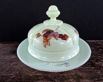 Big Sale Tarentum Georgia Gem Custard Glass Covered Butter/Cheese Dish