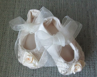 Champaign colored Christening, baptism, blessing shoes for baby girls