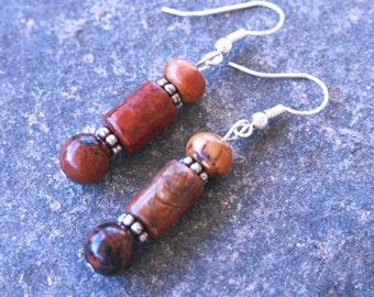 Red Creek Jasper Natural Stone Earrings, Earthtone Sterling Silver Dangle Earrings, Southwest Western Handmade Jewelry, Cowgirl, Arizona