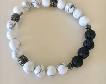 White Howlite Stone Stretch Bracelet, Metaphysical Lava stone Oil Diffuser Jewelry