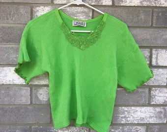 90s super neon green lace cropped top