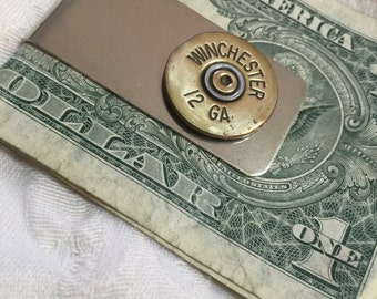 Ammo Shotgun Shell money clip -  12 gauge ammo on stainless steel money clip