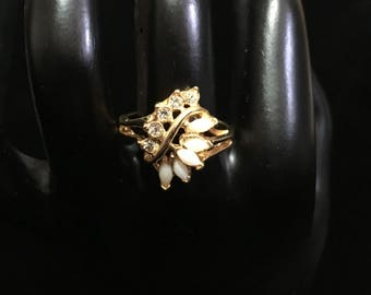 Vintage Uncas Opal and Rhinestone Ring (Tier 2)